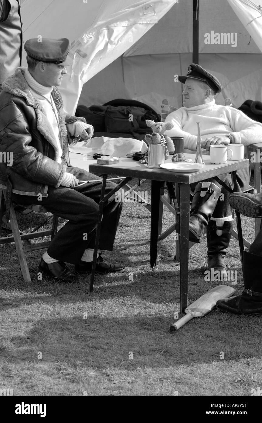 RAF pilots WWII sitting around waiting to scramble Black & White - Stock Image