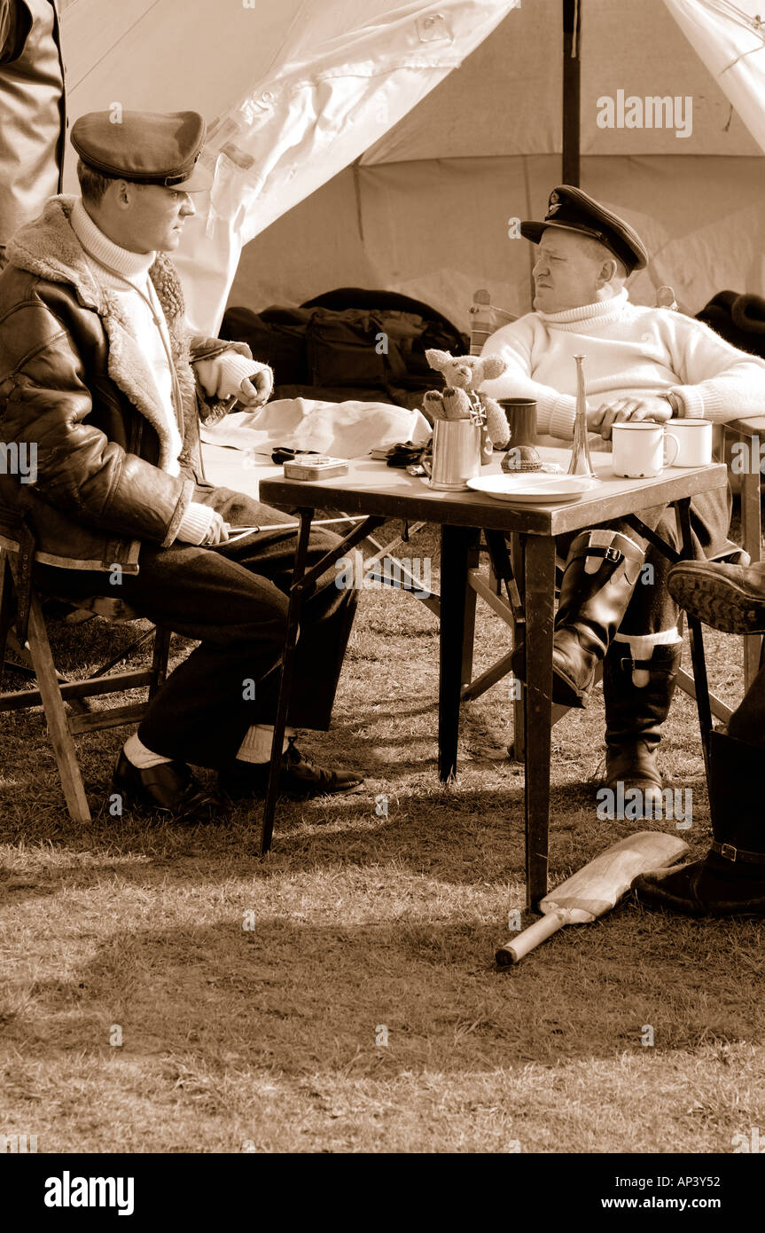 RAF pilots WWII sitting around waiting to scramble sepia toned - Stock Image