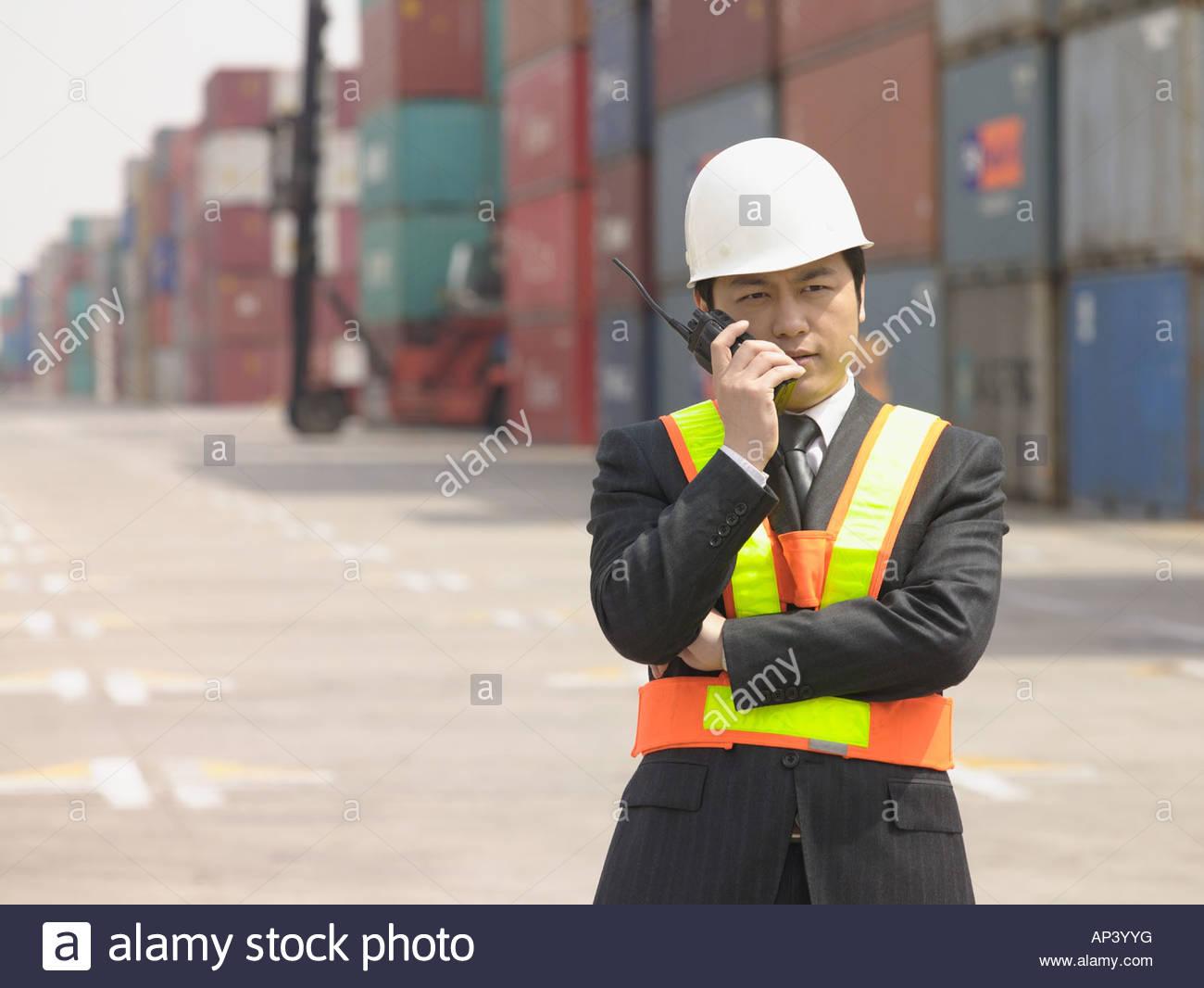 Man with walkie talkie - Stock Image
