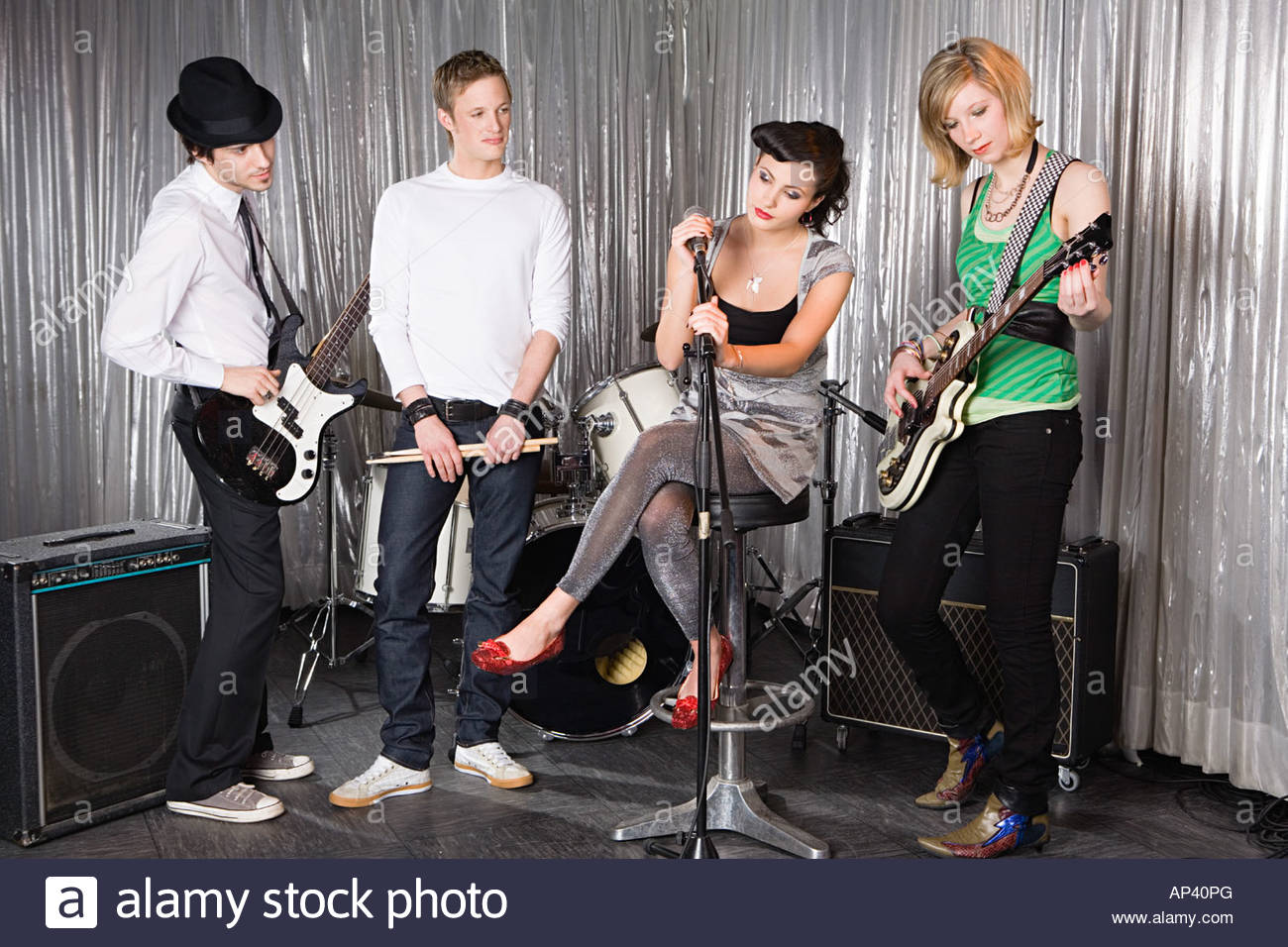 Rock band practising - Stock Image