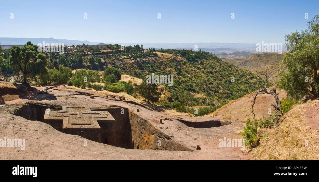A 2 picture stitch panoramic of the Bete Giyorgis or Church of St. George monolithic church in Lalibela. Stock Photo