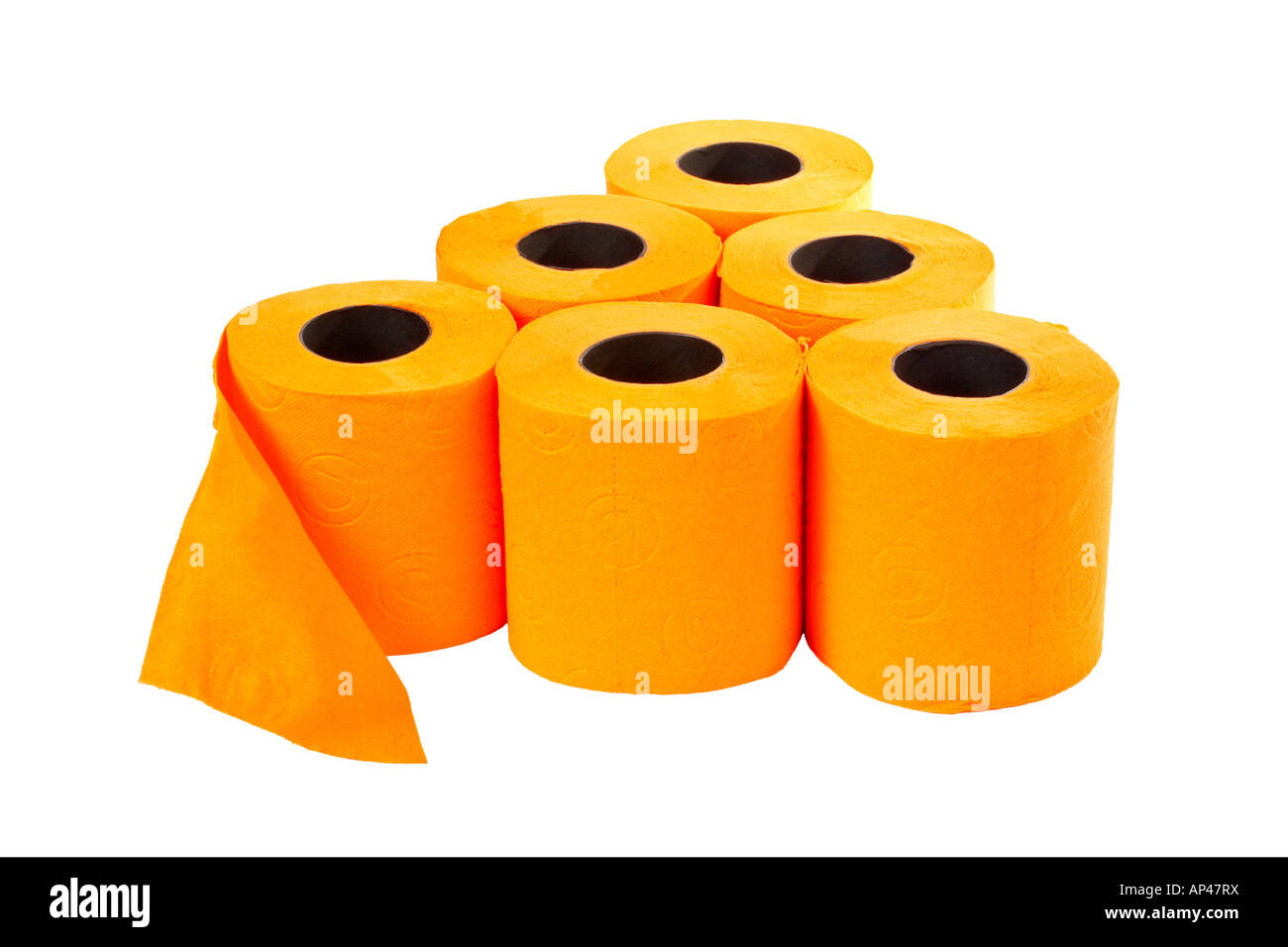 Some rolls of toilet paper on a white background - Stock Image