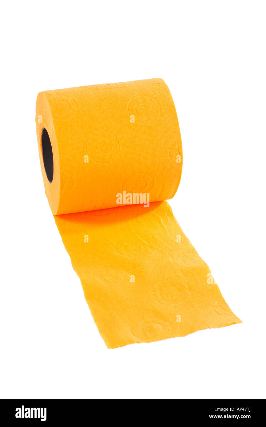 Roll of toilet paper on a white background - Stock Image