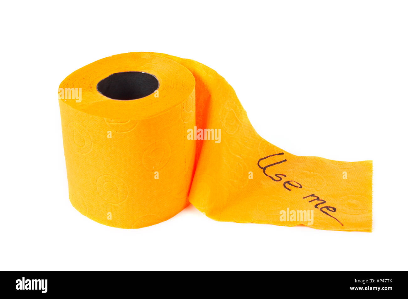 Roll of toilet paper with shadow on a white background - Stock Image