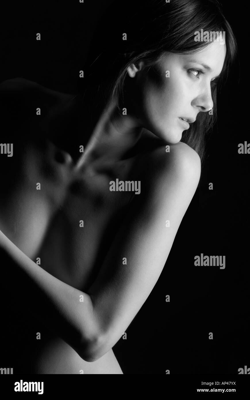 portrait side Stock nude and black model white beautiful light dark 6xUwR