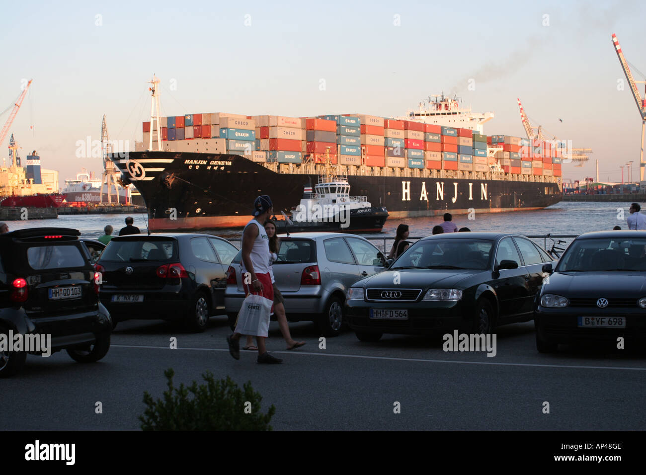 Big Container ship in Hamburg - Stock Image