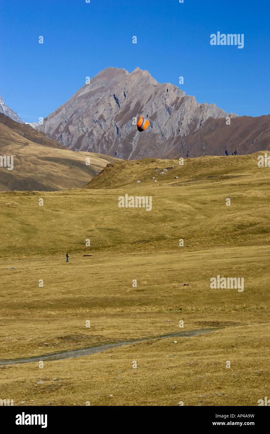kite landboarding at Col du Petit St Bernard - Stock Image