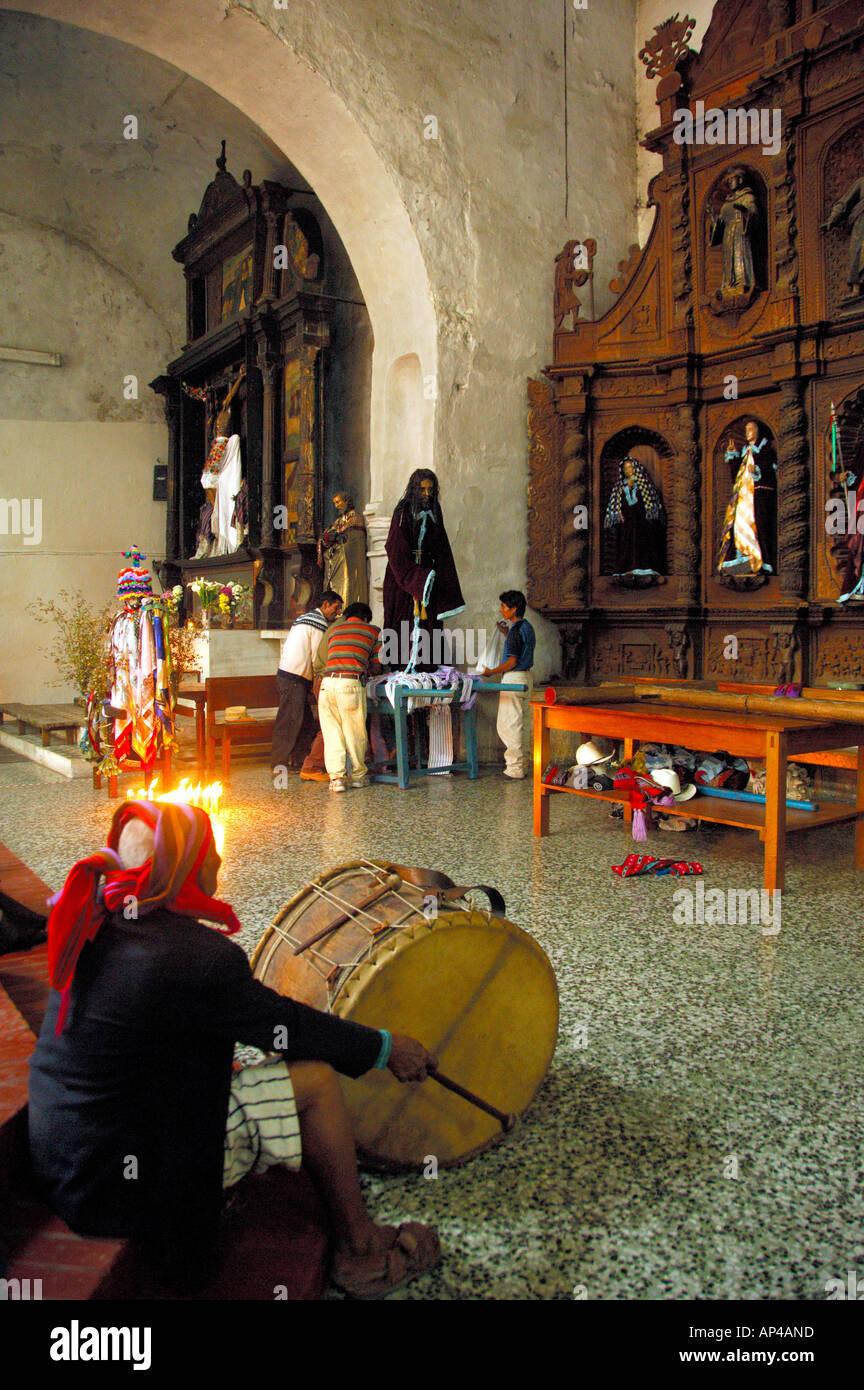 Central America, Guatemala, Western Highlands, Lake Atitlan, Santiago Atitlan. Santiago church. - Stock Image
