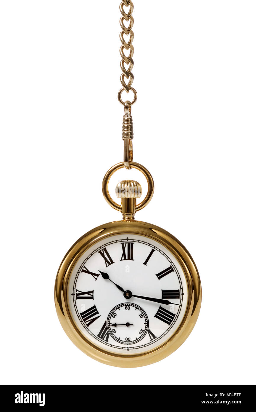 Gold pocket watch and chain isolated on a white background - Stock Image