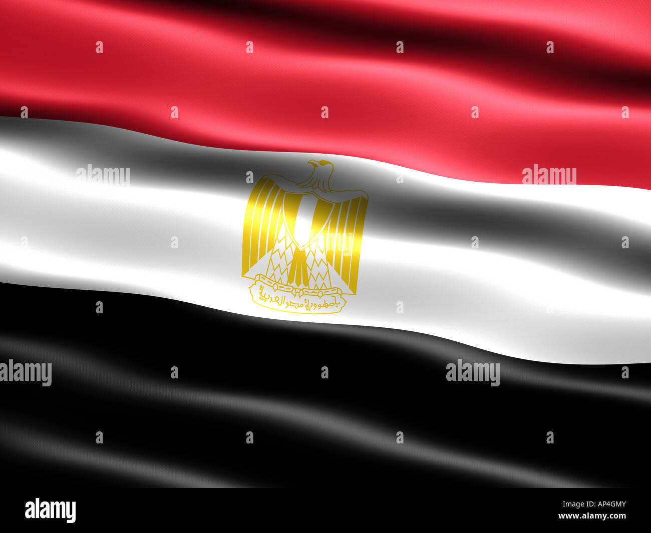 Flag of Egypt computer generated illustration with silky appearance and waves - Stock Image