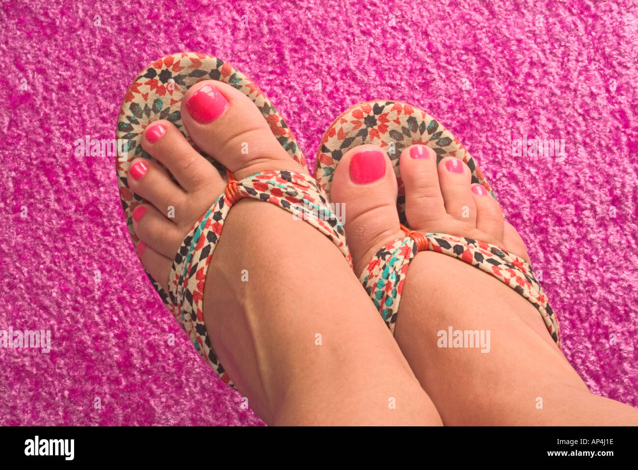 Pink Toe Nails and Fancy Sandals Stock Photo: 5116445 - Alamy