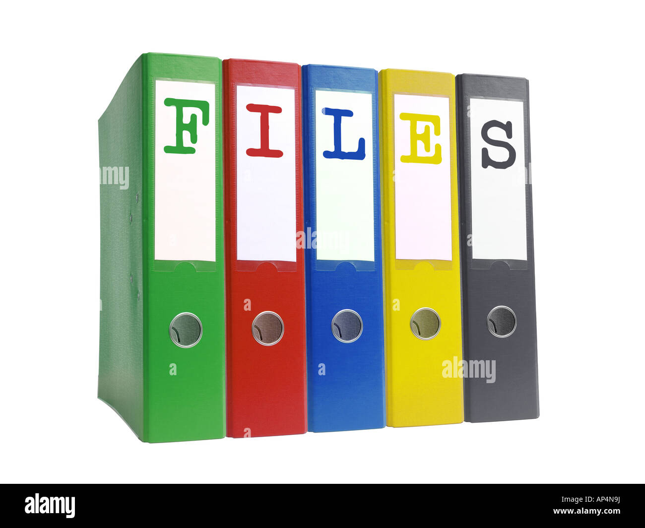 Row of five empty colorful ring binders spelling Files isolated on white background - Stock Image