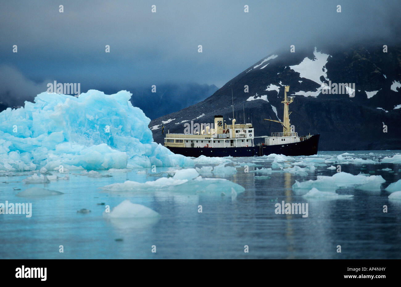 Ship in a arctic bay Stock Photo