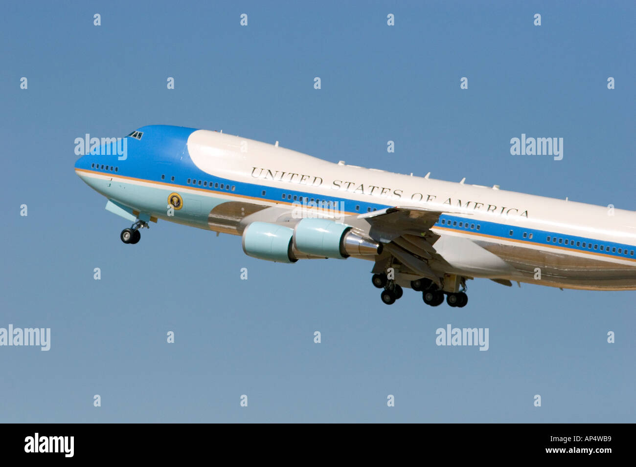 Air Force One taking off from the Boise Airport Boise Idaho  - Stock Image
