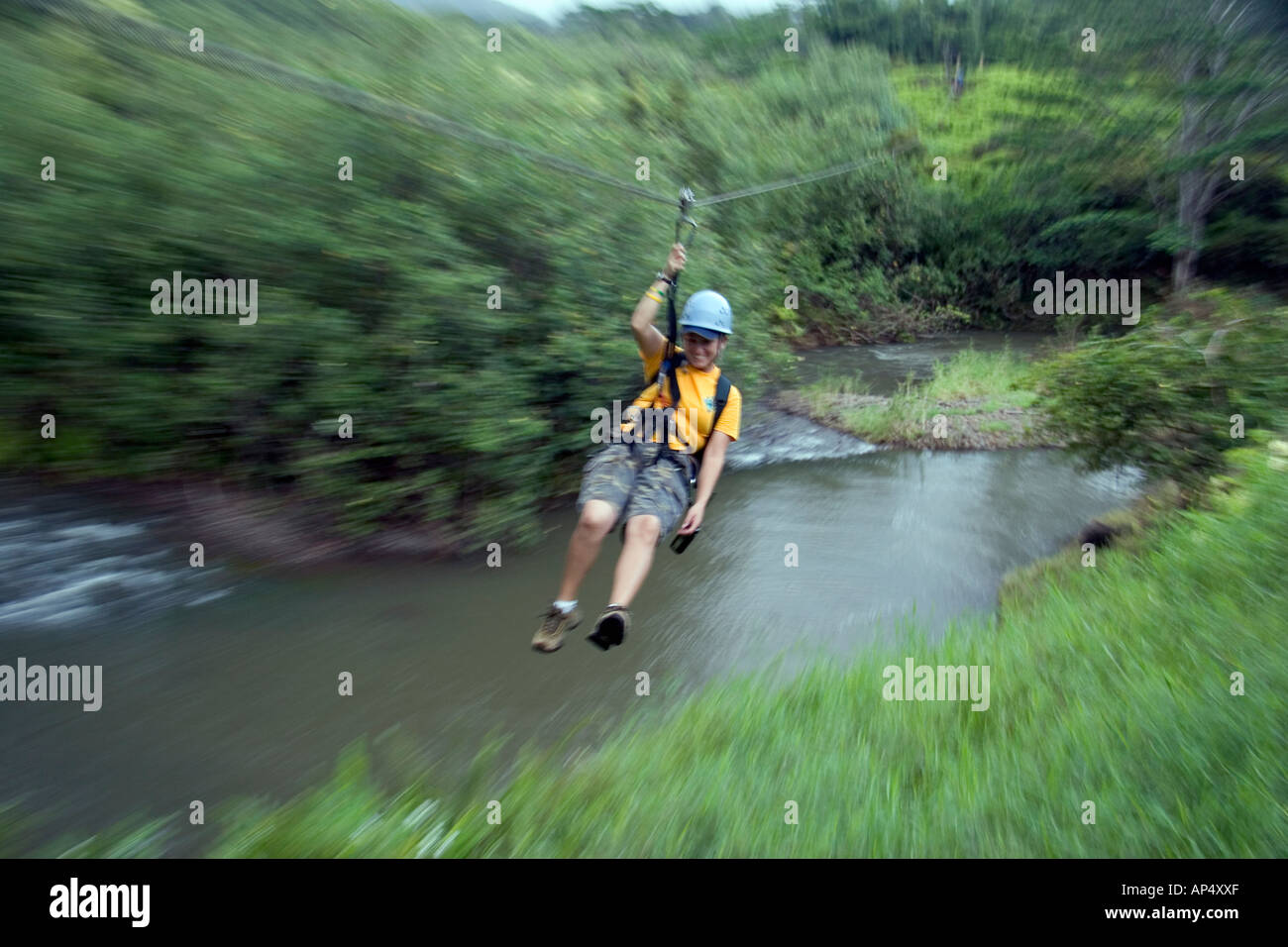 A popular tourist attraction on Kauai. This girl (MR) is on a valley zipline tour over a stream, Hawaii. - Stock Image