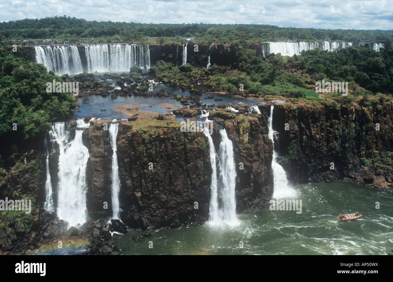 Iguacu falls from the Brazilian side. - Stock Image