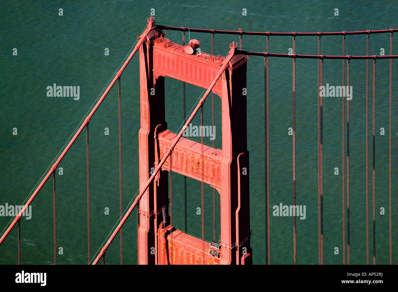 aerial view above Golden Gate bridge San Francisco California - Stock Image