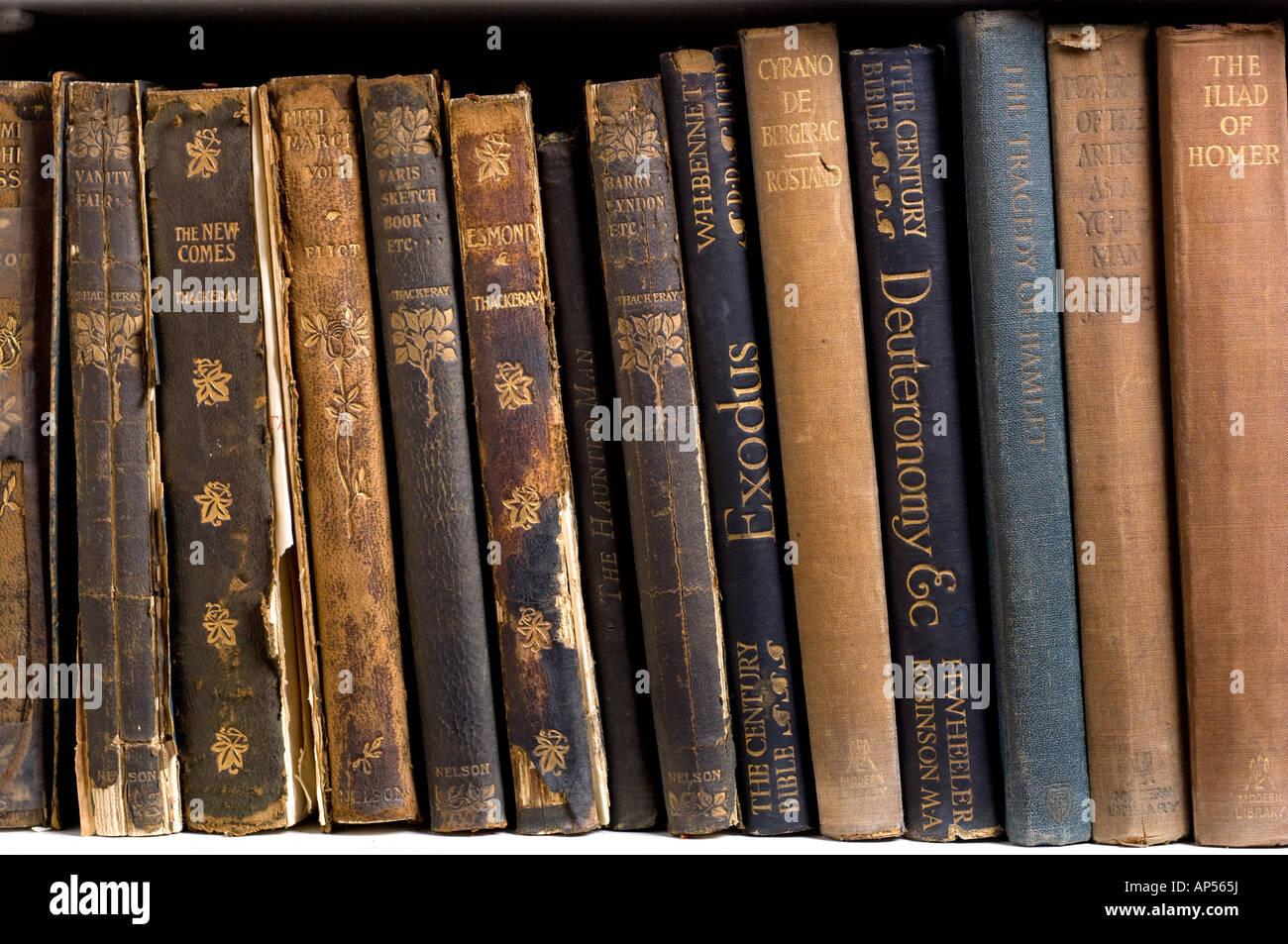 Frayed antique books. - Stock Image