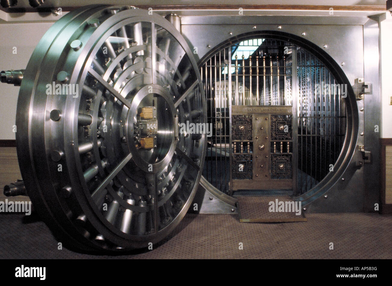 Steel door of a bank vault. - Stock Image