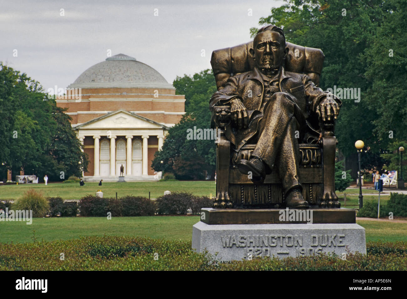 Washington Duke statue Duke University Durham North Carolina USA - Stock Image