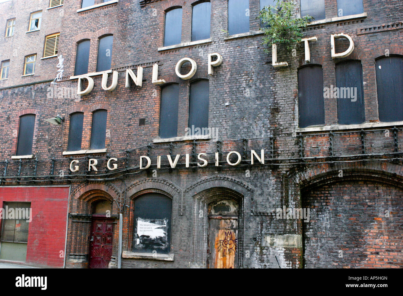 Derelict Dunlop Limited GRD Division building on Cambridge Street Manchester UK - Stock Image