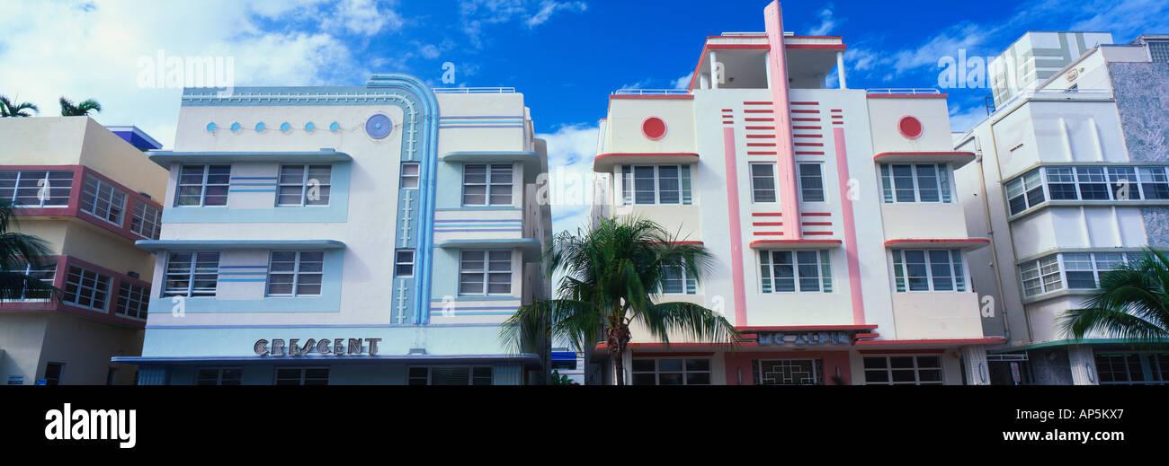 na usa florida miami beach south beach art deco buildings stock