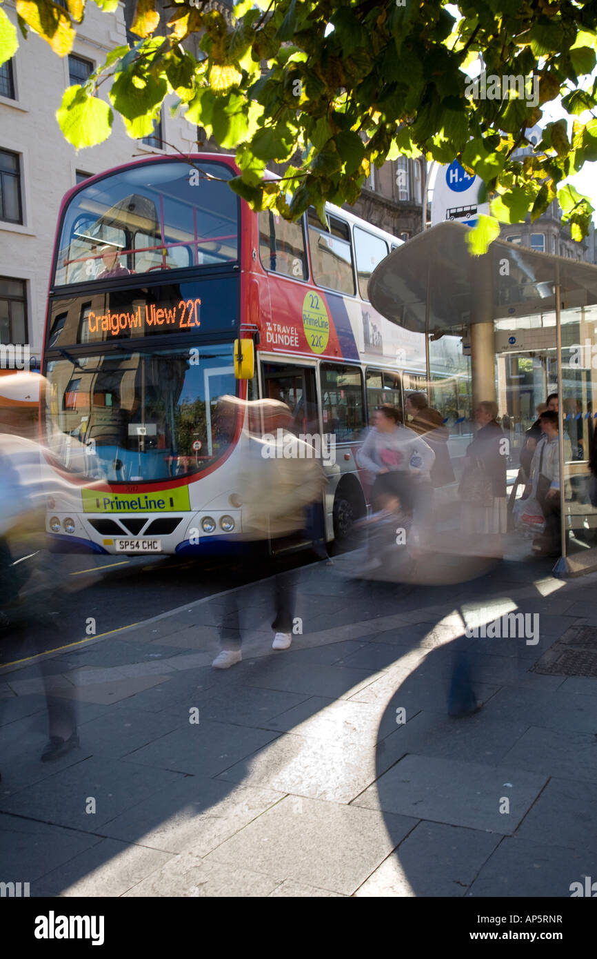Queue at City Centre bus shelters, bus stop, waiting shelters, double decker Buses near Dundee Bus Station Terminus, - Stock Image