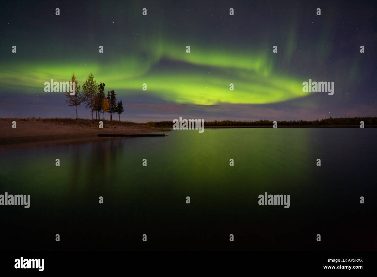 Clean image of a stunning Aurora Borealis display over still lake and trees near Fairbanks, Alaska - Stock Image