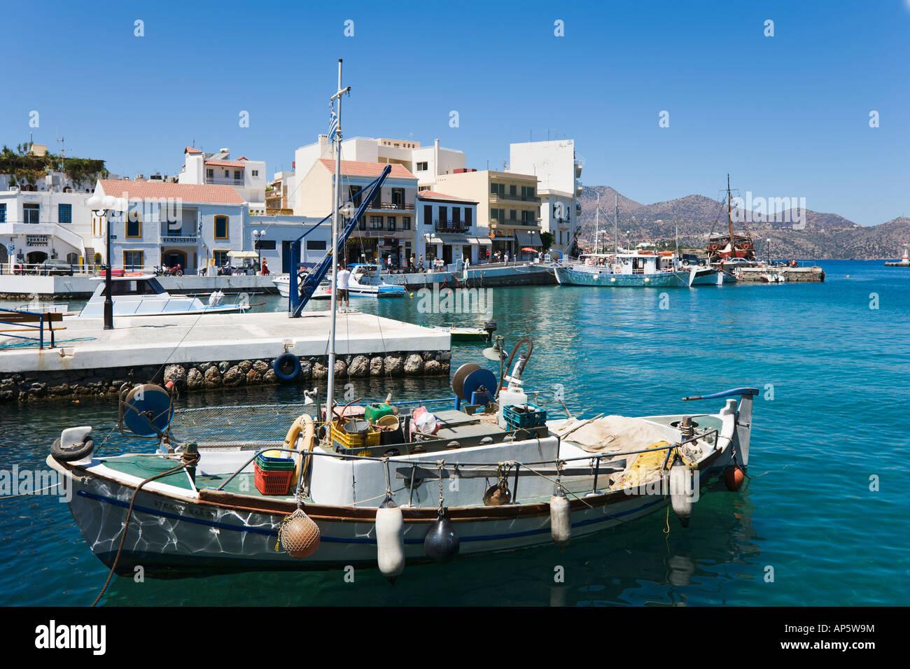 Harbour, Aghios Nikolaos, North East Coast, Crete, Greece - Stock Image