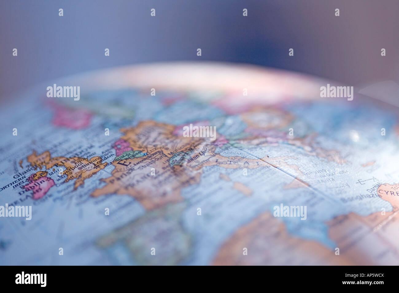 close up globe Europe shallow focus - Stock Image