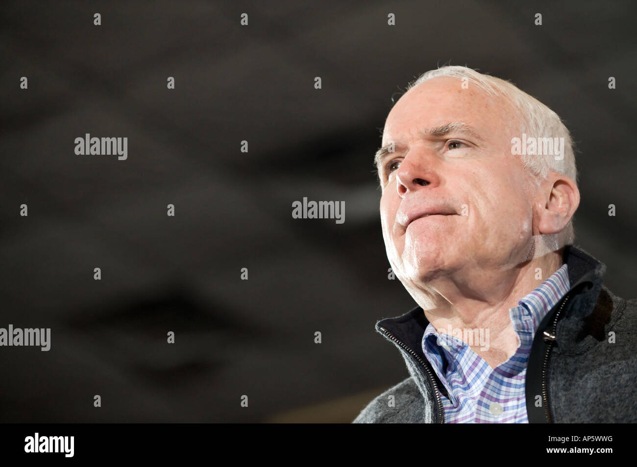 12 January 2008 US Senator and Republican Presidential candidate John McCain at a town hall in Warren Michigan USA - Stock Image