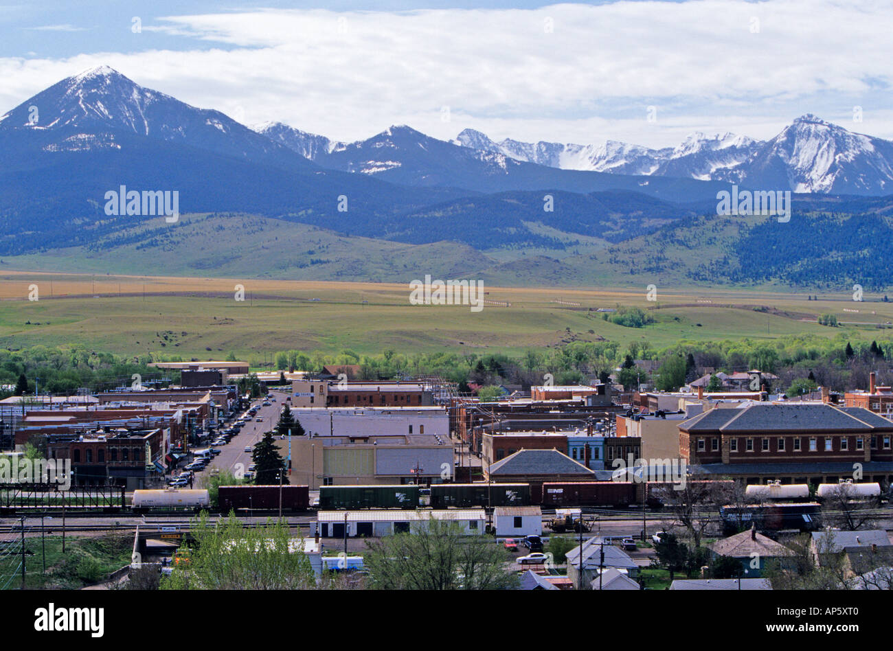 Livingston Montana with Absaroka Mts in background - Stock Image