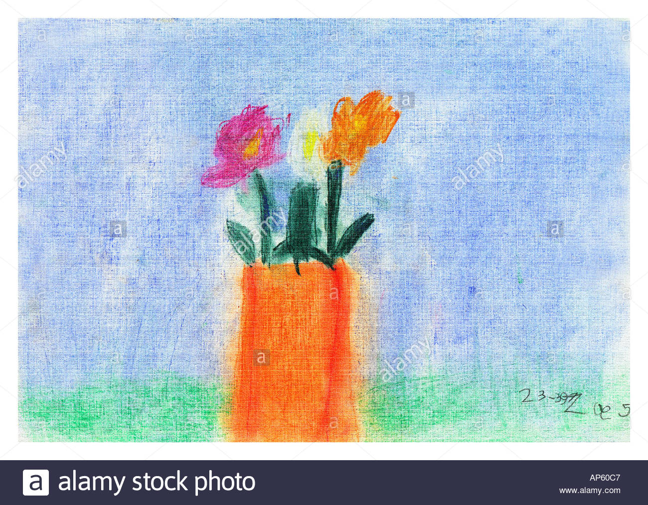 Childs illustration of flowers in a vase - Stock Image