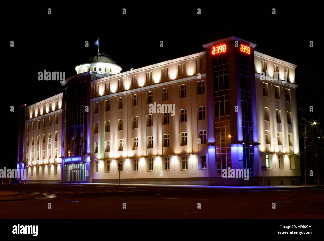 nightview of edifice IrkutskEnergo with floodlight - Stock Image