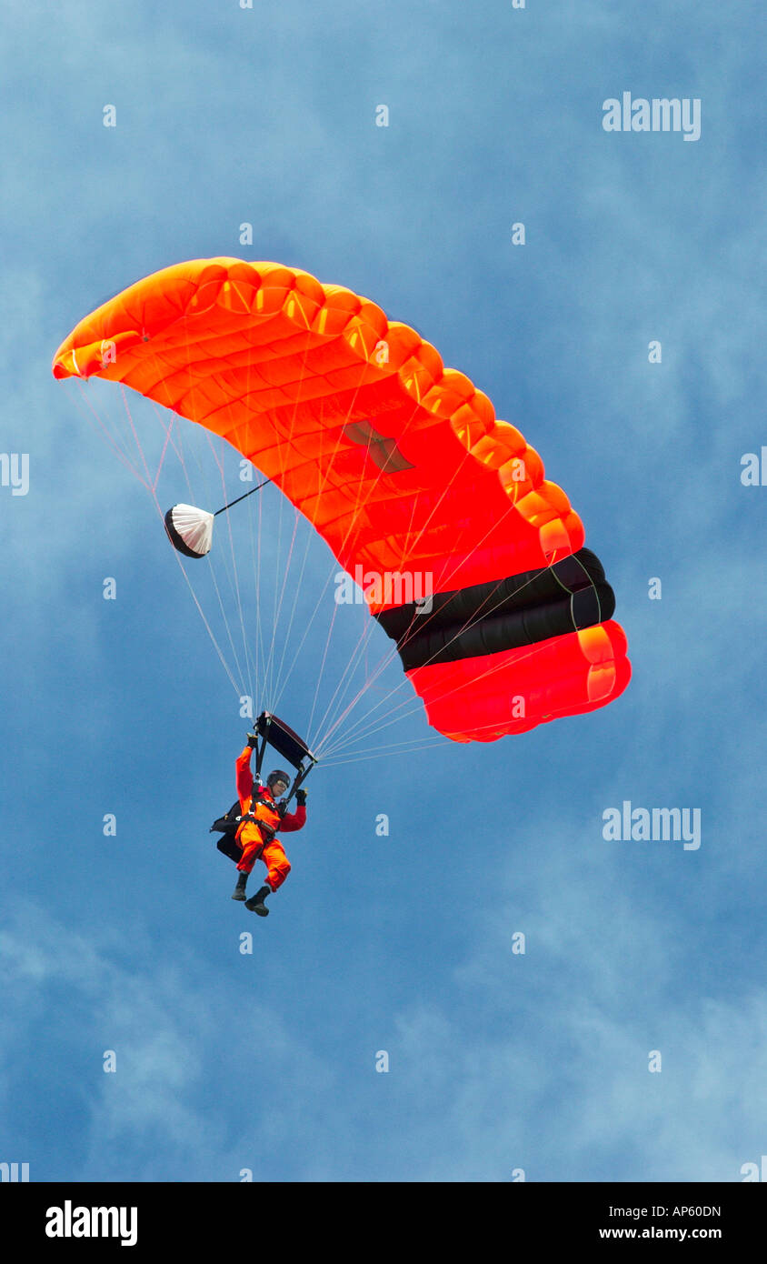 Canadian Forces air rescue team parachuting demonstration in Winnipeg Manitoba Canada - Stock Image