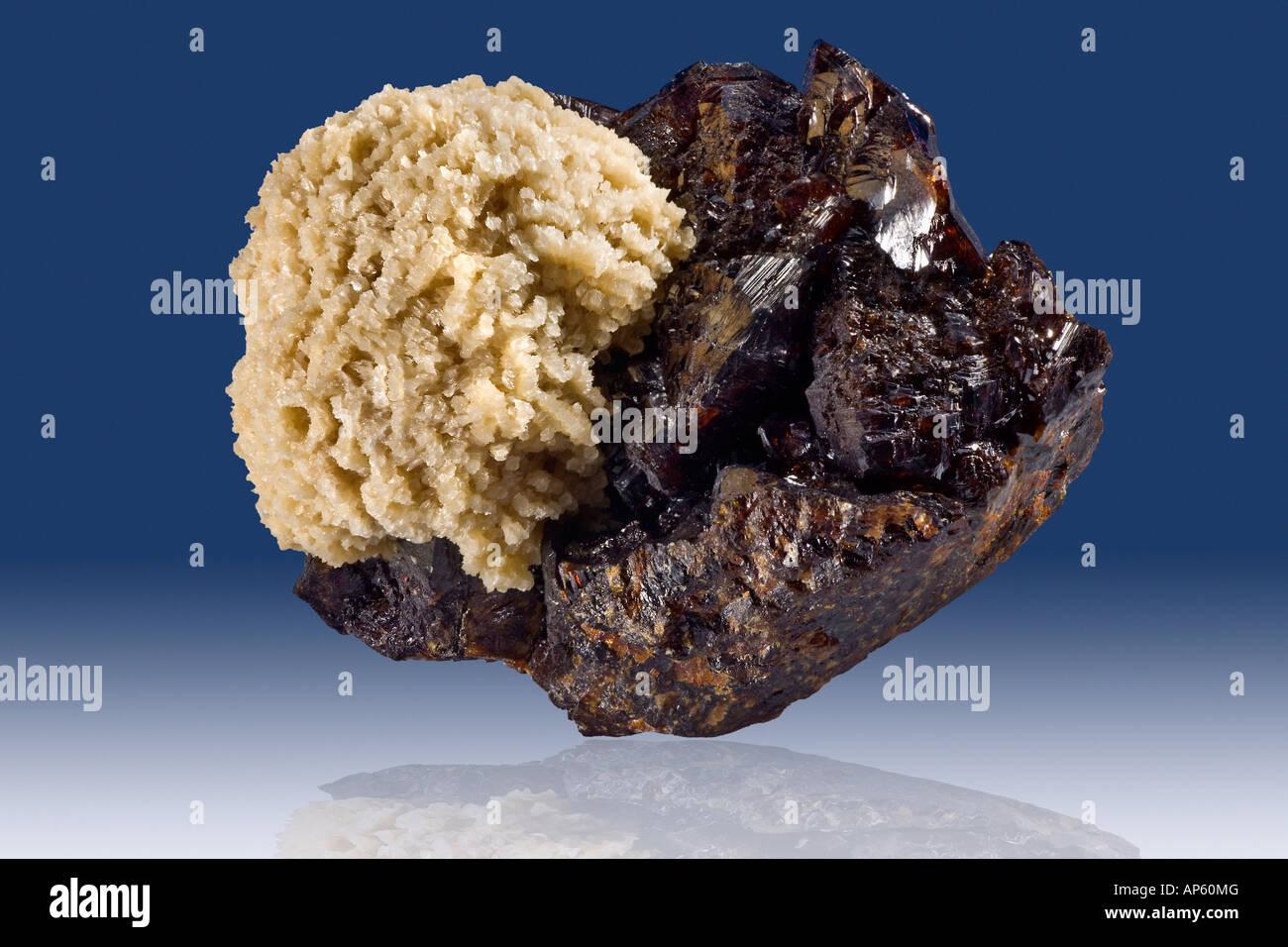 Barite Ball on Sphalerite Elmwood Mine Tennessee - Stock Image