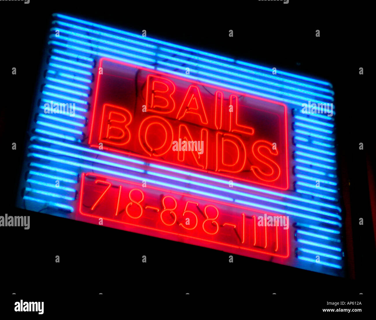 Bail Bondsman s office on Atlantic Ave in Brooklyn near the Brooklyn House of Detention - Stock Image