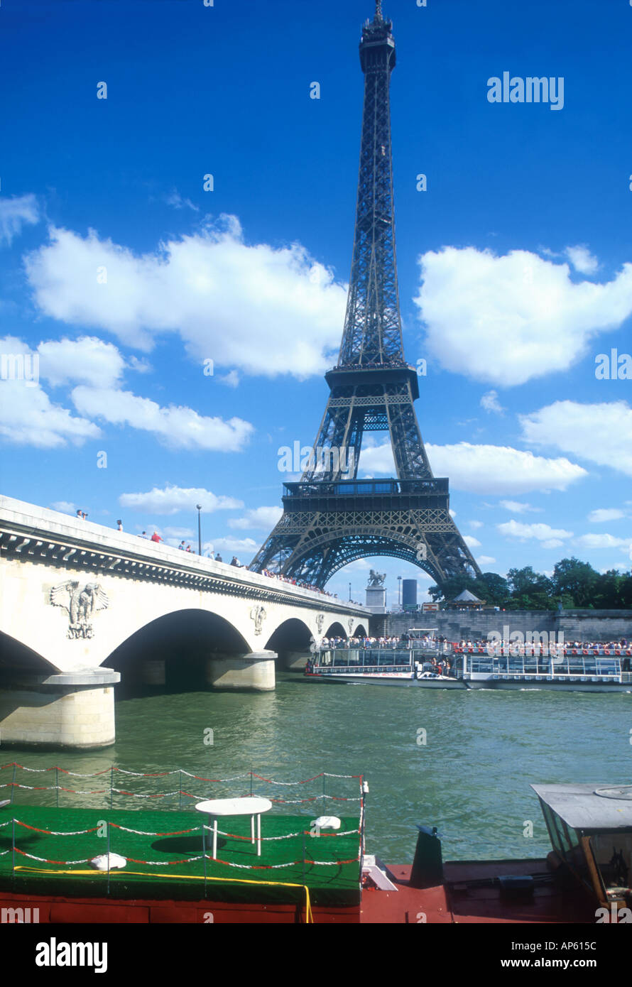 River Seine Pont d Iéna sightseeing boat Eiffel Tower Tour Eiffel Paris France Europe  Stock Photo