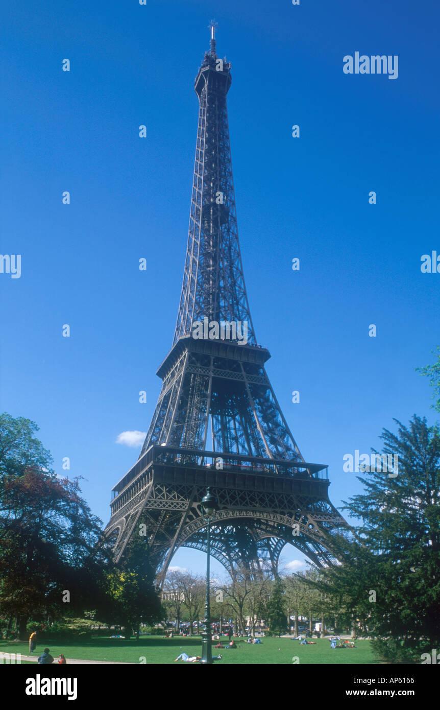 Eiffel Tower Tour Eiffel people Champs de Mars Paris France Europe  Stock Photo