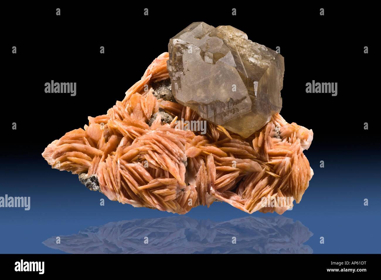 Cerussite on Barite Mibladden Morocco - Stock Image