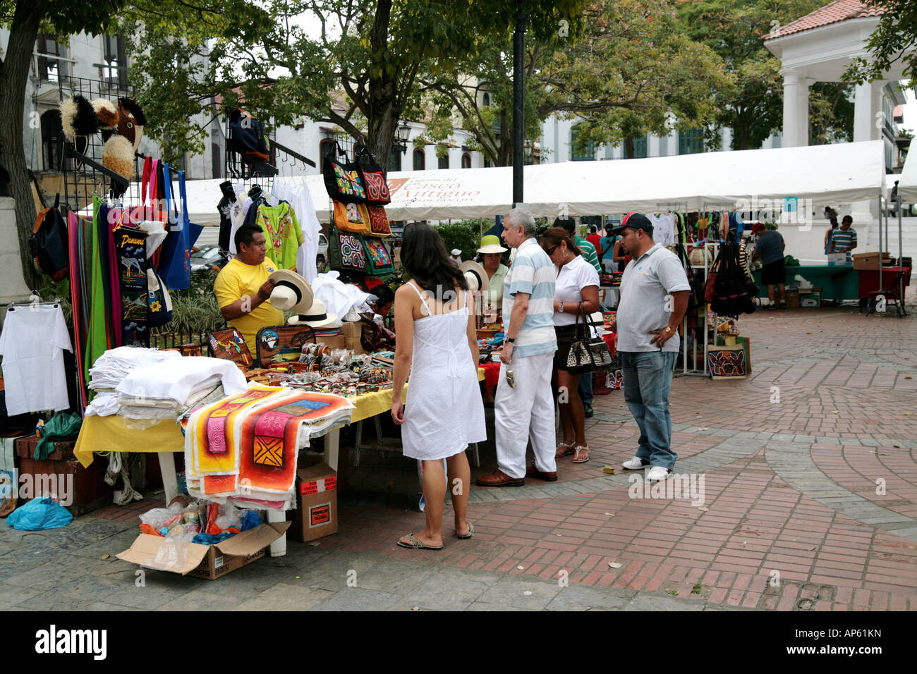Sunday flea market at the Catedral Plaza of Panama City in San Felipe of the Casco Antiguo Stock Photo