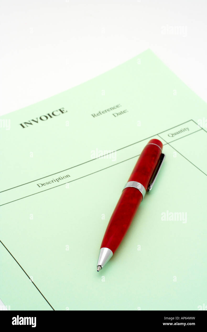 Close Up Blank Invoice With Pen On White Background Small Dof Stock