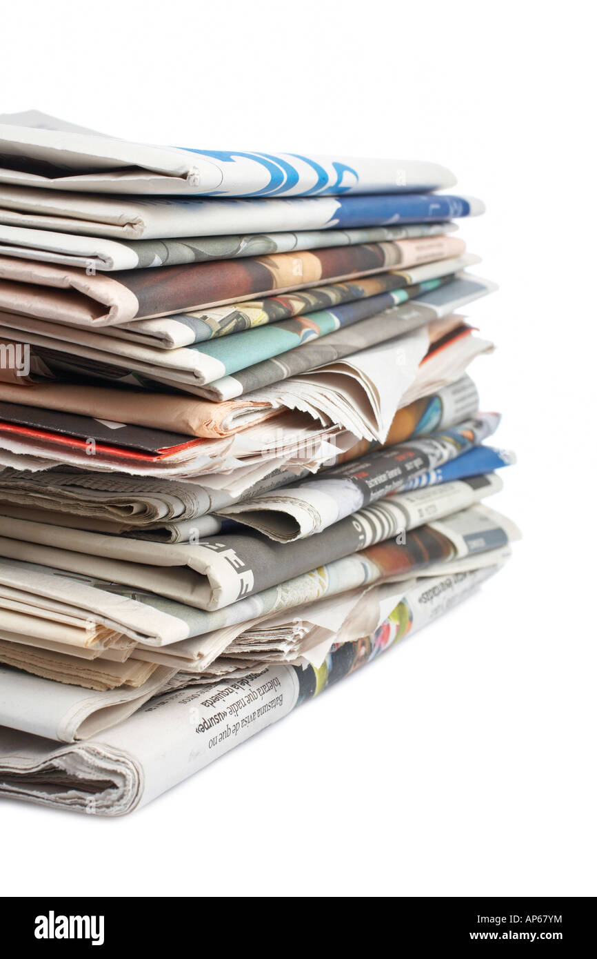 tall stack newspapers on white stock photos & tall stack newspapers