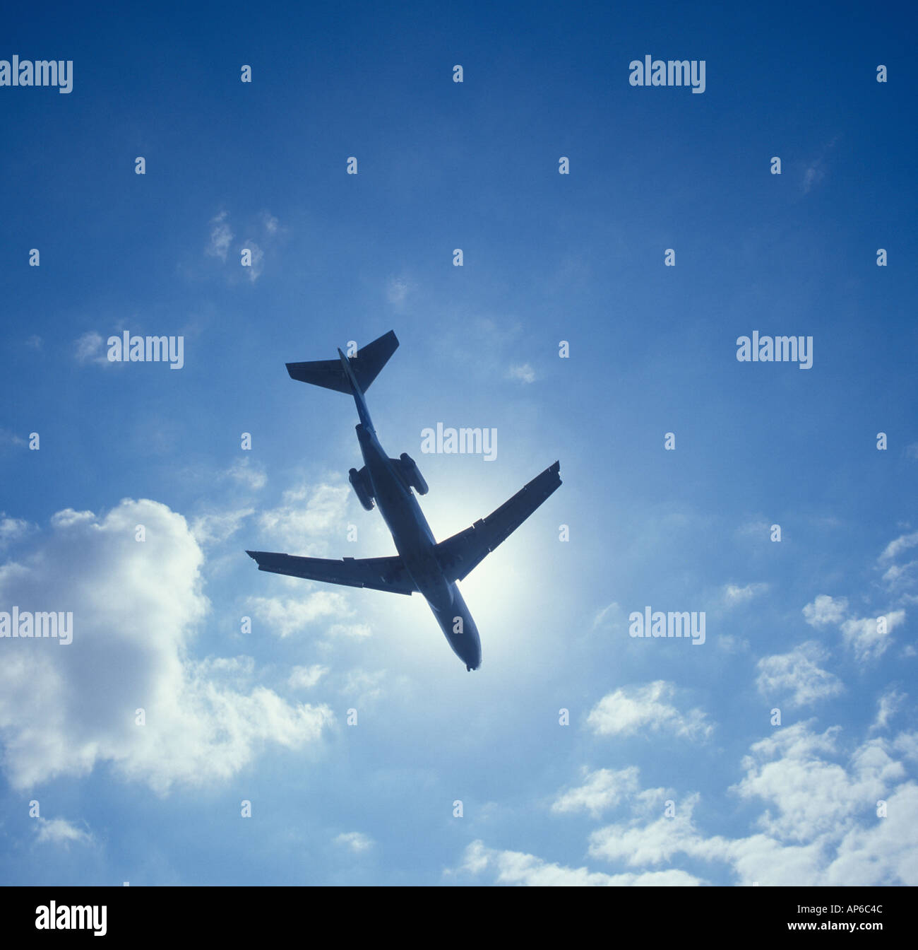 commercial jet airplane in flight - Stock Image