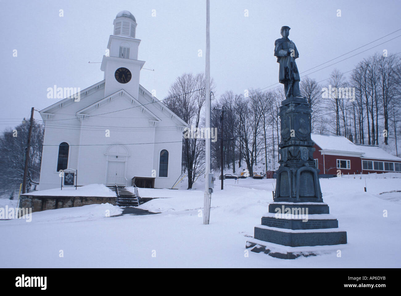Coventry, VT The town square. Northern Forest. Winter. - Stock Image