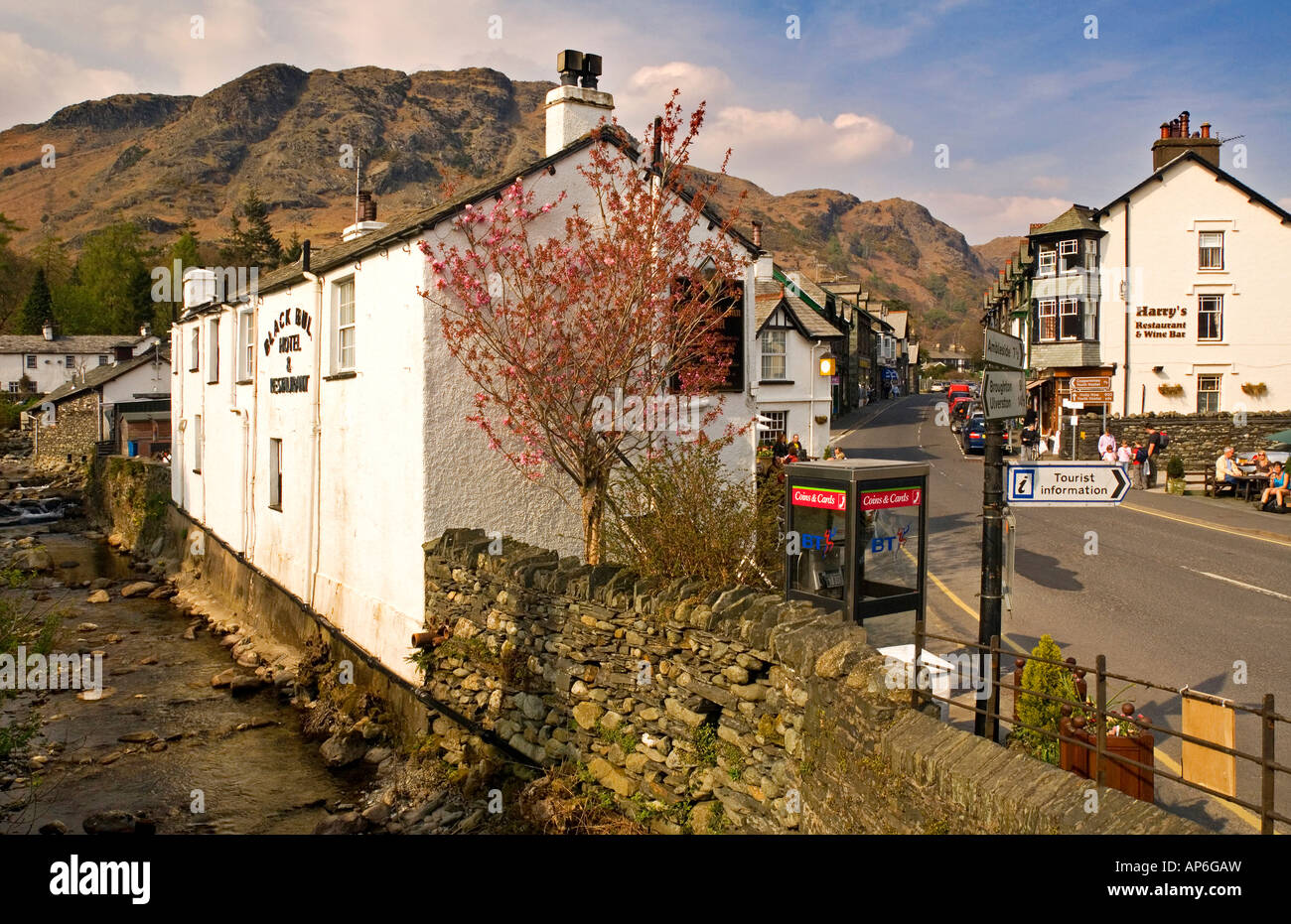 Coniston High Street, Coniston & Yewdale Fells Behind, Lake District, Cumbria, England, UK Stock Photo