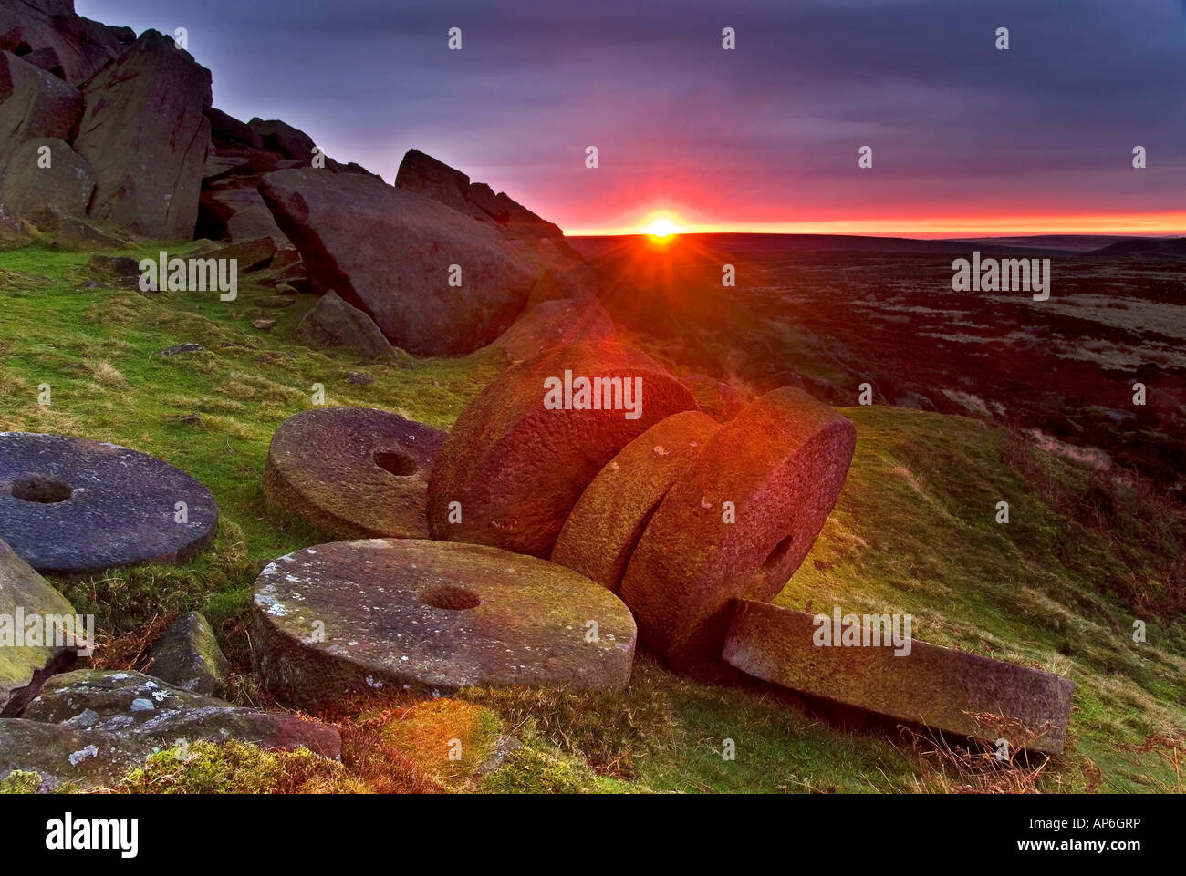 Sunrise Over Millstones Below Stanage Edge, Above Hathersage, Peak District National Park, Derbyshire, England, Stock Photo