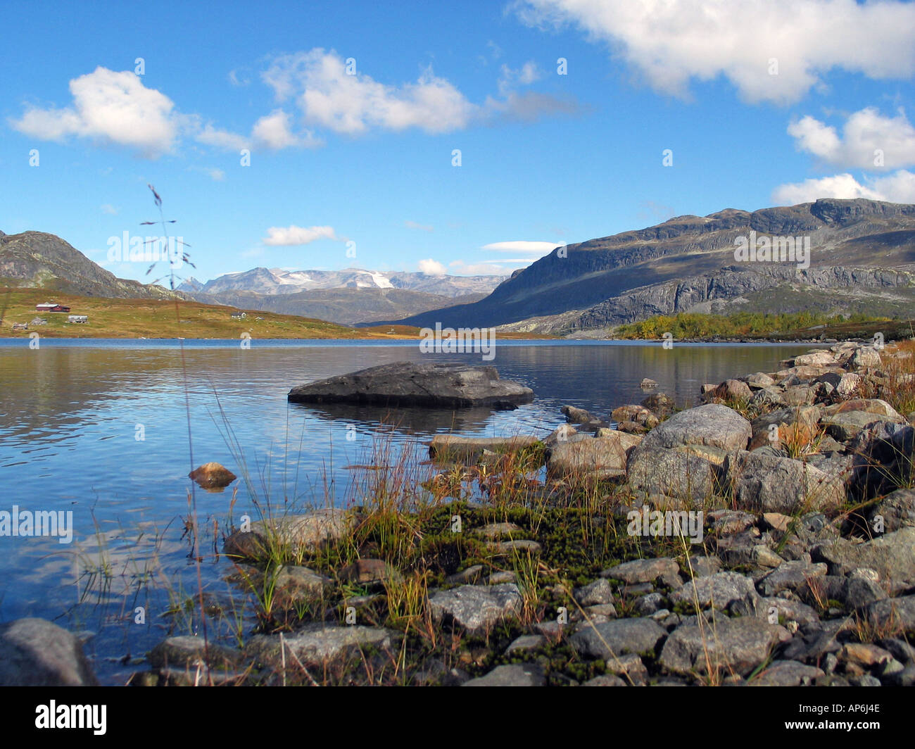 Beautifull lake on Slettefjell during Indian summer, Jotunheimen, Norway - Stock Image