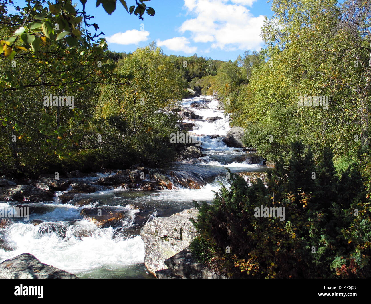 Waterfall on Slettefjel during Indian summer Valdresflya, Jotunheimen, Norway - Stock Image