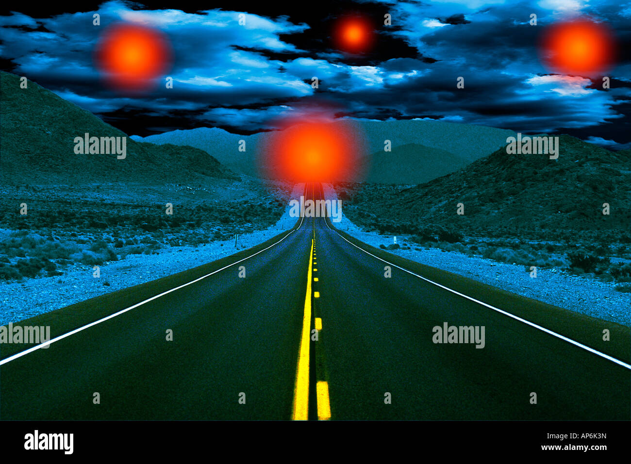 Empty road at night with UFO, Extraterrestrial, digital composite - Stock Image